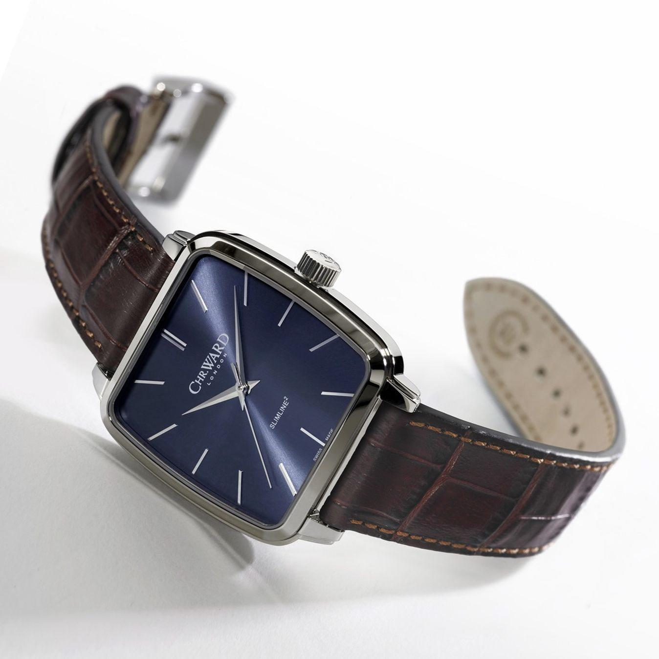 Chr. Ward C5 Malvern Slimline Square Hand-Wound (brown leather strap)