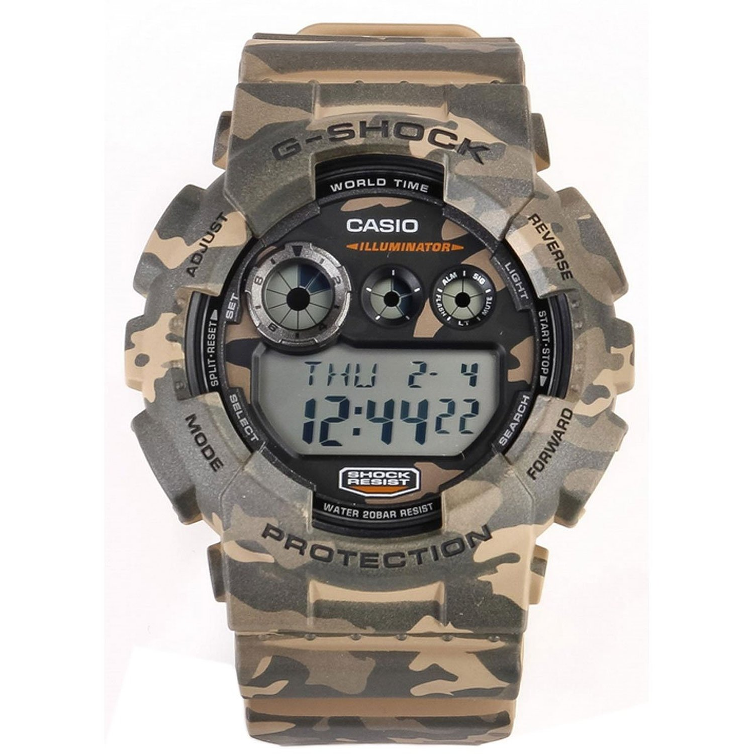 more easy to read casio g shock camouflage chrono swiss. Black Bedroom Furniture Sets. Home Design Ideas