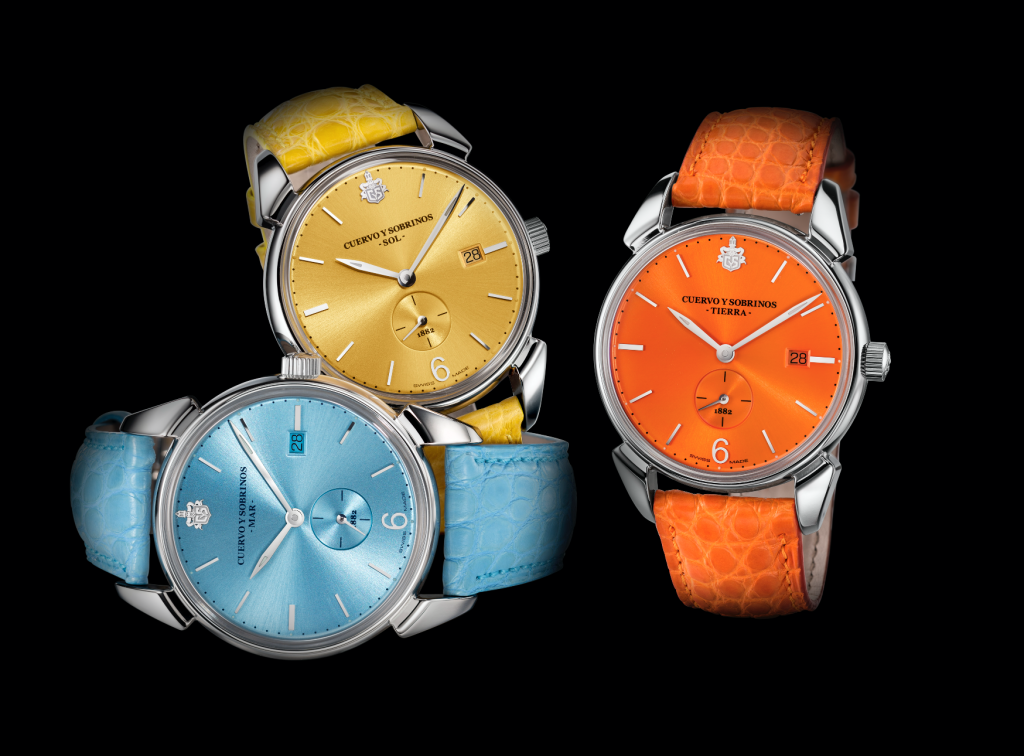 Cuervo y Sobrinos watch is available in 44mm stainless steel case
