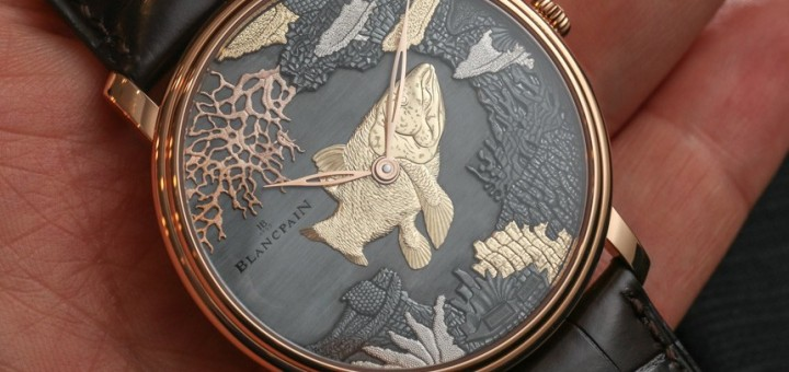 Hindu God Ganesh adores the dial of Blancpain Villeret Shakudo Ganesh & Coelacanth Engraved Dial Watches